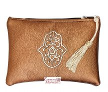 "Moroccan Pouch Purse with Hamsa Design Handmade Metallic Bronze Small 15 cm x 10 cm / 6"" x 4"""